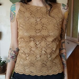 Vintage Nude/Gold Lace Top